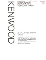 KENWOOD KRC3002 OEM Owners