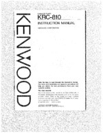 KENWOOD KRC810 OEM Owners
